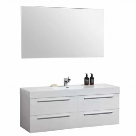"48"" White Four Drawer Modern Bathroom Vanity With Mirror"