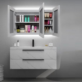 "36"" White Modern Bathroom Vanity With Mirror"