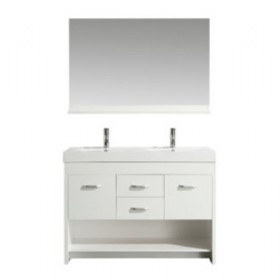 "42"" Double Sink Vanity Set in White"