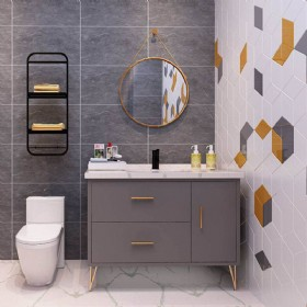 "42"" Gray Modern Bathroom Vanity With Mirror"